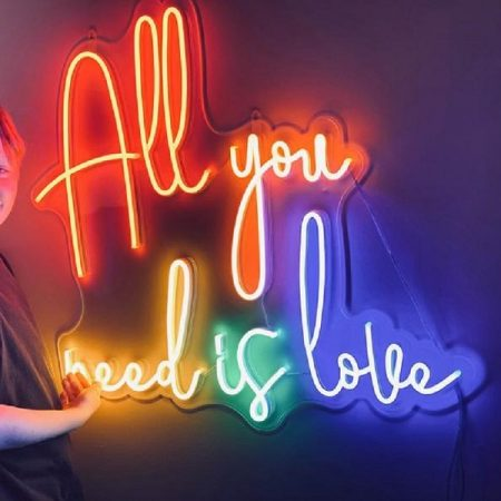 All you need is love - Colourful neon sign